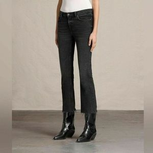 All Saints Zoe Cropped Bootcut Washed Black Jeans